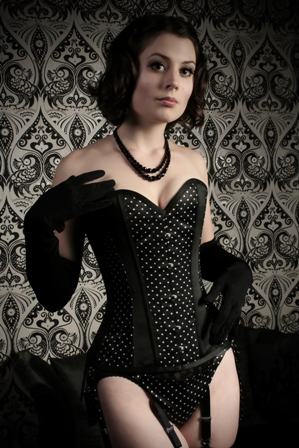 Black & White Dot Dita Corset