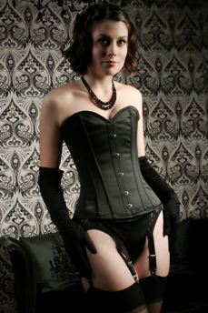 Dita Corset In Black Duchess Satin